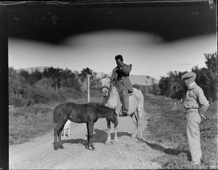Māori man on horseback, Tūrangi area
