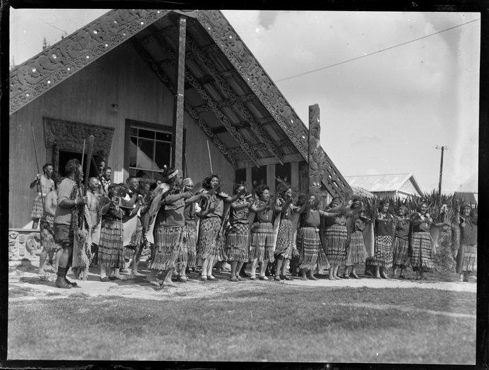 Maori group performing an action song at the marae, Waikato