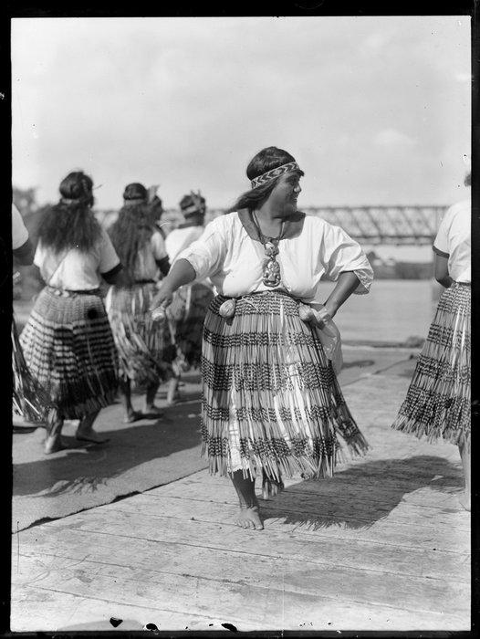Maori women performing an action song, Waikato
