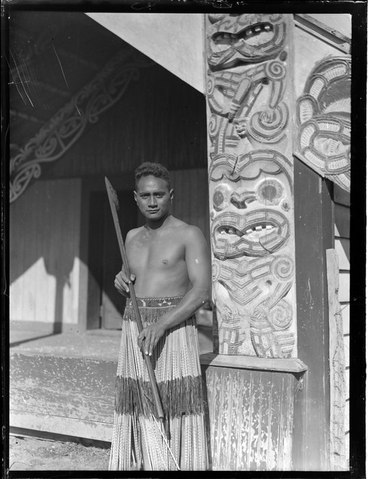Portrait of Minihi (Jack) Kuru at Otūkou marae, Lake Rotoaira