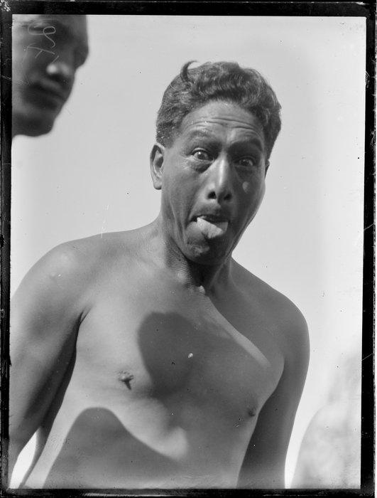 A Maori man doing a pukana, Waikato