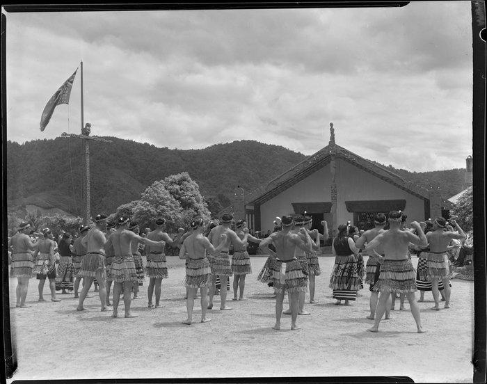 Welcoming ceremony at Marae for Sir Peter Buck, Ngaruawahia, Waikato