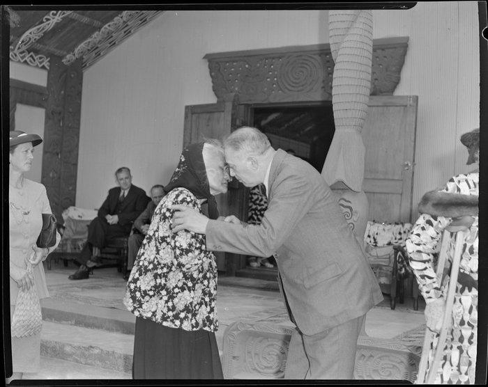 Princess Te Puea greeting Sir Peter Buck at his welcoming ceremony, Ngaruawahia, Waikato