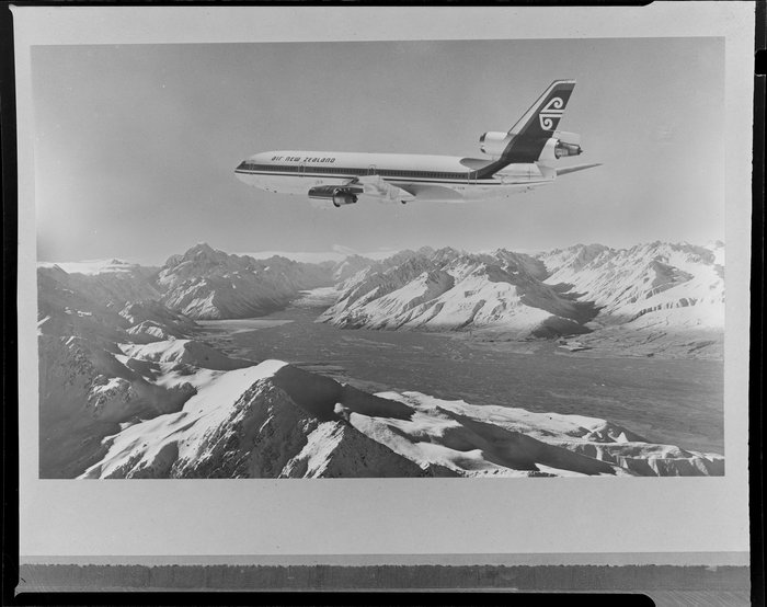 Air New Zealand DC10 aircraft flying over the Mount Cook region