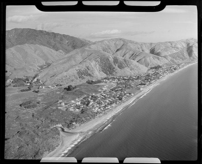 Paekakariki, Kapiti Coast District, showing beach and hills