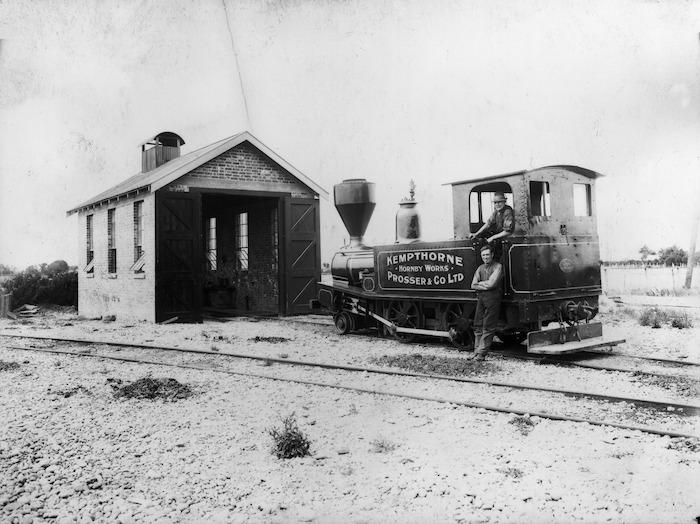 Steam locomotive on Kempthorne Prosser & Co Ltd's private railway, Christchurch