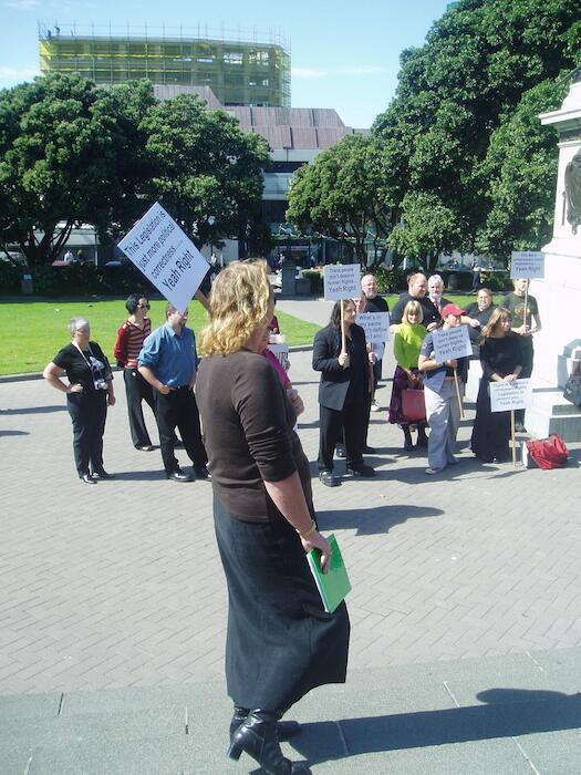 Photographs of a rally in support of the Human Rights (Gender Identity) Amendment Bill, Wellington