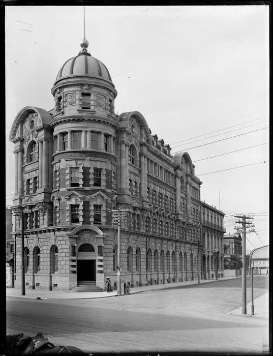 View of the Public Trust building on the corner of Stout Street and Lambton Quay, Wellington