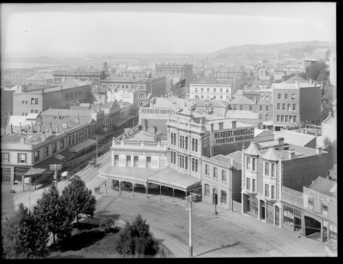 General view of the city area of Dunedin, Otago, including the business premises of Herbert Haynes and Company, furniture warehouse and New Zealand Clothing Factory