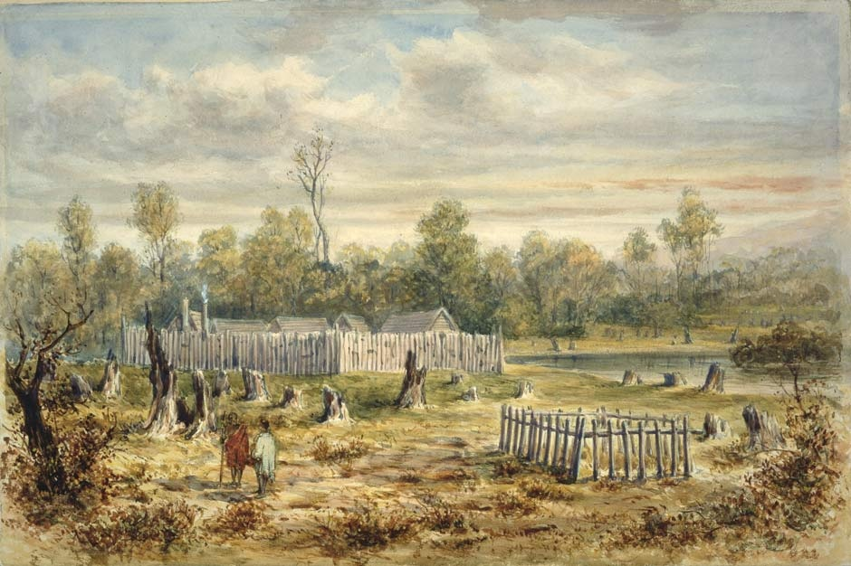 Painting of Boulcott's stockade in Hutt Valley