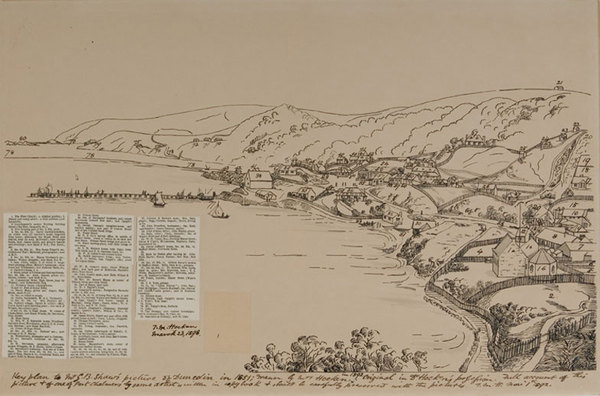 Key plan to Mr G.B. Shaw's picture of Dunedin in 1851. Drawn by Mrs Hocken in 1892.