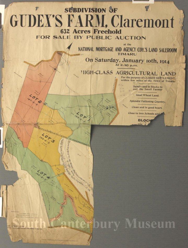 Subdivision of Gudex's Farm, Claremont Map