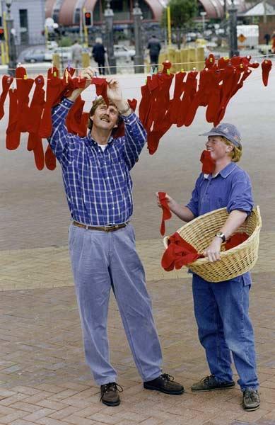 Hanging up red socks