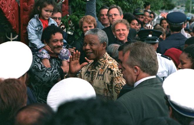 Political leaders: President Nelson Mandela at Ngāruawāhia