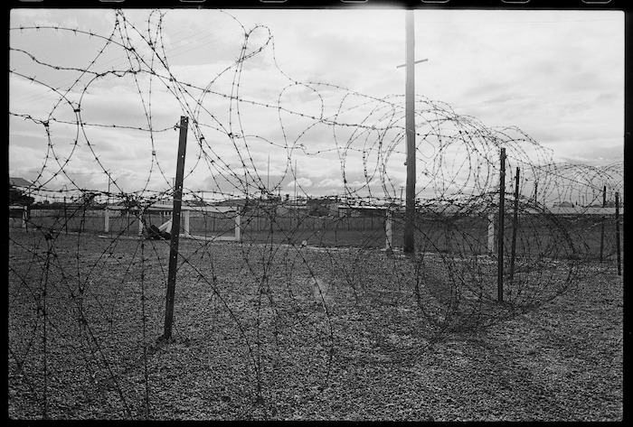 Barbed wire protecting a rugby ground