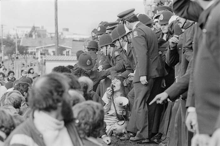Protestors and police officers at Rugby Park, Hamilton - Photograph taken by Phil Reid