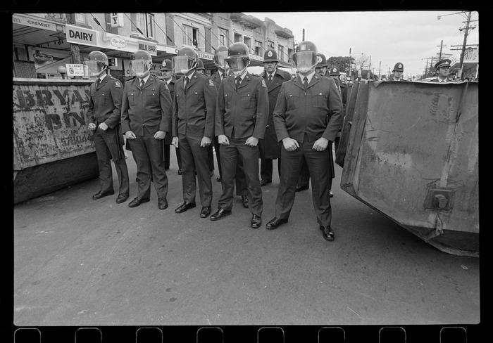 Line of police in street
