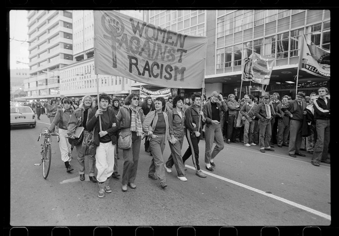 """Protest march with """"Women Against Racism"""" banner, Wellington"""