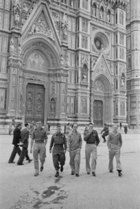 New Zealand soldiers outside the Cathedral of Santa Maria del Fiore, Florence, Italy - Photograph taken by George Kaye