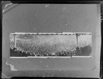 Copy photograph of the crowd scene at the Springbok versus New Zealand Universities Rugby Union match