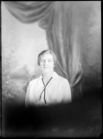 Head and shoulders studio portrait of unidentified woman, probably Christchurch district