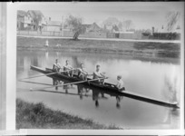 Four unidentified coxed men's rowing team, with a young coxswain in boat, [on Avon River?], probably Christchurch district