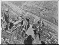 American French and Indian mule teams used by Indian formation, Monte Cassino, Italy - Photograph taken by Indian Official photographer