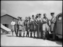 Queue of NZ soldiers broadcasting home, Maadi - Photograph taken by G Kaye
