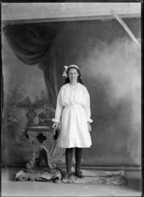Studio portrait of unidentified young woman, probably Christchurch