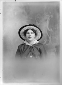 Head and shoulders studio portrait of unidentified woman, probably Christchurch