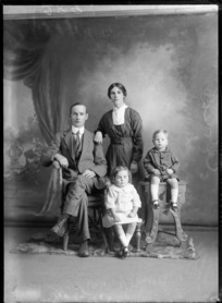 Studio portrait of unidentified family group, probably Christchurch