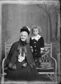 Studio portrait of unidentified older woman and child, probably Christchurch