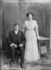 Studio portrait of unidentified couple, probably Christchurch