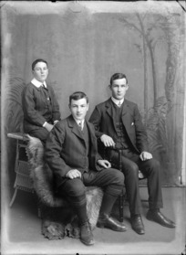 Studio portrait of three unidentified young men, probably Christchurch