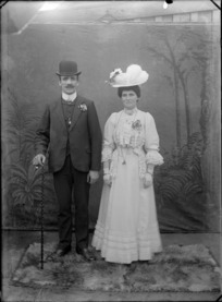Studio portrait of unidentified bride and groom, probably Christchurch
