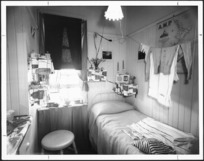 Bedroom at YWCA hostel, Brougham Street, Mount Victoria, Wellington - Photograph taken by WM.E.Toms