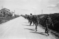 Kaye, George, 1914- : New Zealand Engineers returning from searching for mines, Senio River area, Italy