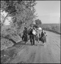 Italian refugees from villages made untenable as the front line advances in World War II - Photograph taken by George Kaye