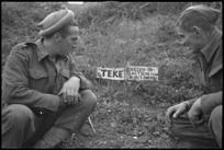 Grave of Teke, mascot of the NZ Divisional Provost, in Italy, World War II - Photograph taken by George Kaye