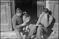 New Zealanders fraternizing with Italian villagers where they are billetted, World War II - Photograph taken by George Kaye