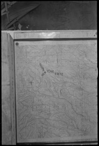 Artillery map with 'Happy New Year Fritz' marked on the Orsogna Sector in Italy, World War II - Photograph taken by George Kaye