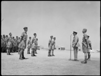 General Freyberg at microphone addressing Divisional Signals at the handing over of command by Colonel Agar to Major Grant, Maadi - Photograph taken by G F Kaye