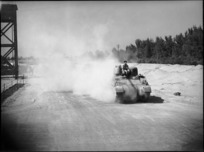 Members of 4th Armoured Brigade taking delivery of a new tank from a railway siding at Maadi, Egypt, World War II - Photograph taken by George Kaye