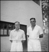 Cricket captains Howden and Carson in North Island versus South Island match in Cairo, Egypt, World War II - Photograph taken by George Kaye