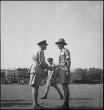 General Freyberg congratulates Lieutenant Colonel Fountaine on his DSO at 6 NZ Infantry Brigade parade at Maadi, Egypt - Photograph taken by George Kaye