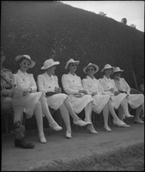 Nursing sisters watching 6 NZ Infantry Brigade parade at Maadi Club, Egypt - Photograph taken by George Kaye
