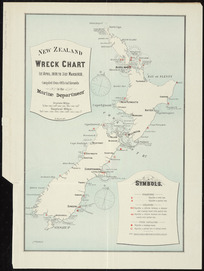 New Zealand wreck chart, 1st April, 1899 to 31st March, 1900 [cartographic material] : compiled from official records in the Marine Department / A. Koch, del.