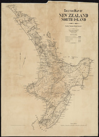 Sketch map of New Zealand, North Island [cartographic material] ; Sketch map of New Zealand, South Island / drawn by A. Koch.