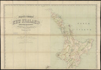 Map of the colony of New Zealand [cartographic material] / compiled from official sources in the Public Works Department, Wellington, N.Z. 1876, by Augustus Koch ; revised, engraved and printed under the supervision of E.G. Ravenstein.