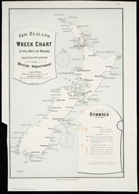 New Zealand wreck chart, 1st April 1904 to 3st March 1905 [cartographic material] / compiled from the official records in teh Marin Department ; A. Koch, del.